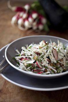 Panier de Saison » La salade d'automne de l'écureuil amoureux aux radis et aux noisettes Cabbage, Grains, Salads, Rice, Vegetables, Cooking, Ethnic Recipes, Food, Quiches