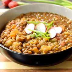 This Spanish-style vegan lentil stew is easy to make with very simple ingredients and perfect for vegans on a serious budget. Hearty and comforting, this oil-free recipe is great as a plant-based main Vegan Lentil Recipes, Vegan Dinner Recipes, Vegan Foods, Vegan Dishes, Soup Recipes, Whole Food Recipes, Cooking Recipes, Healthy Recipes, Garbanzo Bean Recipes
