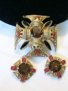 BAROQUE MALTESE CROSS RHINESTONE SIGNED FLORENZA VINTAGE BROOCH PIN EARRINGS SET | eBay