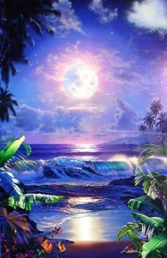 Scenery Pictures, Art Pictures, Amazing Paintings, Amazing Art, Sky Sunset, Sunset Beach, Paradis Tropical, Dolphin Art, Hawaiian Art