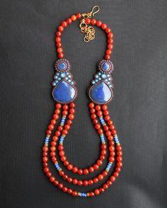 Lapis & Fire Agate Necklace