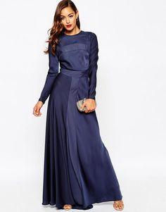 Image 1 of ASOS Red Carpet Paneled Long Sleeve Satin Maxi Dress