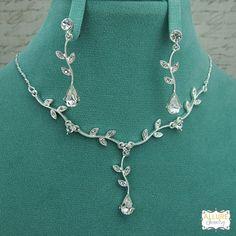 Crystal Rhinestone Vine Teardrop Jewelry by AllureWeddingJewelry