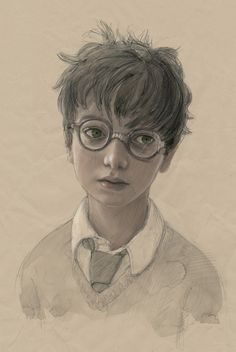 """And now we have a sneak peek into some brand new illustrations. Here's a sketch of Harry Potter's character: 