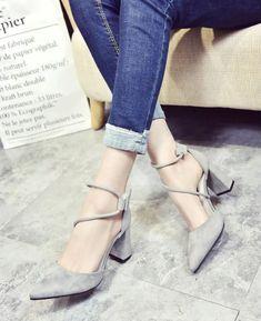 Pointed Stilettos Cross Strap High-heel Shoes cea9739bdcd7