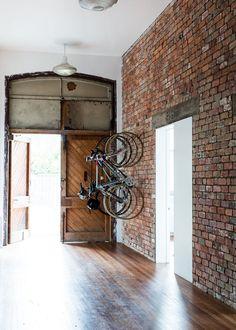 wood floor & exposed brick wall