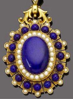 Circa 1870 Lapis and Pearl Pendant