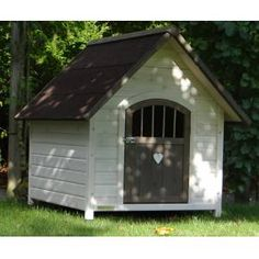 Today's dog house models are as unique as you and your pooch, and are built to suit your targeted ne Modern Dog Houses, Cool Dog Houses, Pet Houses, Stucco Siding, Thatched Roof, Types Of Doors, Outdoor Dog, Animal House, Best Dogs