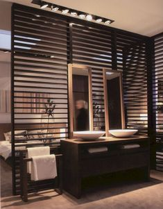 59 Marvelous Open Bathroom Concept For Master Bedrooms Decor Ideas - Page 55 of 56 Wooden Partitions, Wooden Room Dividers, Dressing Room Design, Cool Rooms, Bedroom Decor, House Design, Master Bedrooms, Bedroom With Bath, Decor Ideas