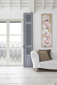Cherry blossoms painted on linen wall hanging style ninimaliste and sleek, Sakura, zen, Japanese flower illustration Provence France, Creations, Etsy, Aide, Moment, Decoration, Gifts, Collections, Gift Ideas