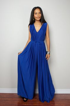 Blue Jumpsuit  Sleeveless Royal Blue Jumper Maxi Dress by Nuichan