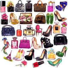 35pcs Self-made Women Fashion Handbags Shoes Scrapbooking Stickers Decorative Sticker DIY Craft Photo Albums Decals Diary Deco