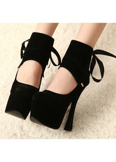 Solid Black Ankle Strap Design Lace Up Pumps