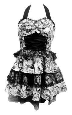 Black White Skulls Roses Lace Dress H R London 50'S Rockabilly Punk Goth Tattoo | eBay  http://www.ebay.com.au/usr/tragicbeautiful.online?_trksid=p2047675.l2559
