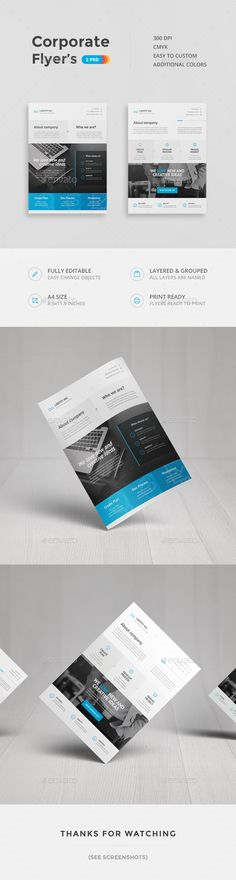 Corporate Flyers Template PSD #design Download: http://graphicriver.net/item/corporate-flyers/13944966?ref=ksioks