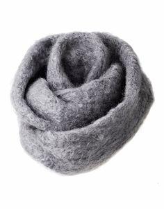 Kid mohair ring scarf, 35x80cm, grey