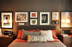 Love this: wall color with art above bedside tables and all art lined up on top
