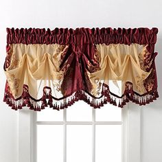 Danbury Embroidered Window Treatments By GoodGram® - Assorted Colors And Sizes Burgundy Valance Valance Window Treatments, Window Coverings, Victorian Window Treatments, Window Valences, Window Seats, Burgundy Living Room, Decorative Curtain Rods, Drapes Curtains, Valances