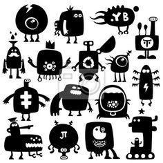 Stickers , happy, doodle - funny monsters in PIXERS offer. Product is made on the basis of artistic photos, from the best fabrics.