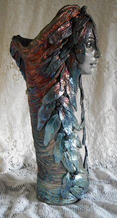 Raku Deep Woods Repose Vase by Leslie by LeslieAhrensOriginal