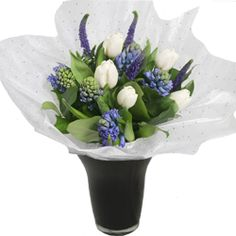 This delightful bouquet created by our skilled florists includes various blue and white blooms. £25