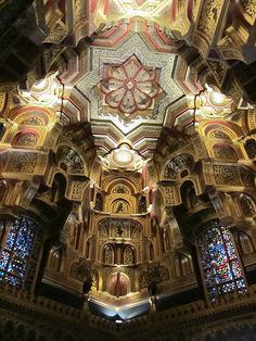 Cardiff Castle, Cardiff, Wales. This is the ceiling of the Arab Room.