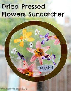 Springtime suncatcher with dried pressed flowers