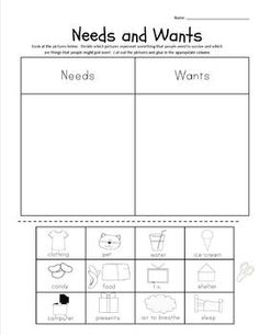 Printables Needs Vs Wants Worksheets wants vs needs toys financial literacy and literacy