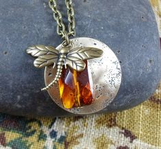 Dragonfly and amber pendant charm necklace Outlander by KLFStudio