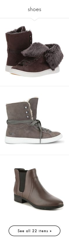 """""""shoes"""" by dawnner ❤ liked on Polyvore featuring shoes, ugg, round toe shoes, laced shoes, synthetic shoes, shock absorption shoes, sneakers, pointed shoes, high-top sneakers and high top shoes"""