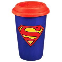 Enjoy your cuppa in this awesome DC Comics Superman travel mug. Featuring the famous superhero logo this will definitely brighten up your tea break. A must for any fans of the caped super hero!