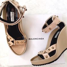 NIB Balenciaga Studded Wedge Sandal Summer must-have! Velcro straps, stable wedge heel, studs on straps. No flaws, ship in original box! Balenciaga Shoes