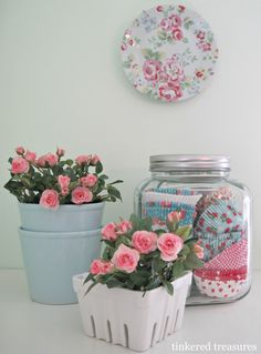 tinkered treasures  Jar with pretty cupcake papers.  Easy and cute idea.