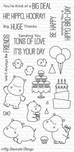 Happy Hippos stamp set #mftstamps