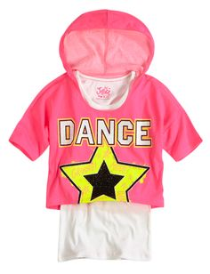 Sports Dance Hooded Crop Over Long Tee | Fashion Graphics | Graphic Tees | Shop Justice |