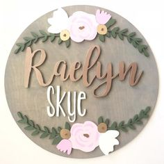 18 Round Wood Name Sign Name Sign Floral Arch Nursery Name Sign Nursery Decor Round Name Sign Name Cutout Wood Sign Flower Garland Baby Girl Names Unique, Unisex Baby Names, Cute Baby Names, Unique Baby, Kid Names, Wood Nursery, Nursery Name, Nursery Signs, Nursery Decor