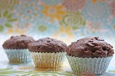 Sisters with Aprons: Chocolate Zuchinni Muffins-replaced flour with white whole wheat and sour cream with fat free Greek yogurt Yummy Treats, Delicious Desserts, Sweet Treats, Dessert Recipes, Yummy Food, Tasty, Chocolate Zuchinni Muffins, Zuchinni Recipes, Zucchini