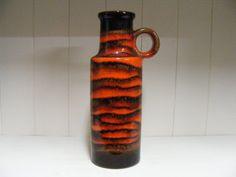 Orange/black Scheurich Fat Lava vase