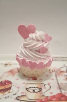 Valentine Fake Cupcake, Pink Hearts, Kitchen Cupcake Decor, Ready to Ship, Photo Props, Picture Sessions, Valentines Day Party Decorations by FakeCupcakeShop on Etsy