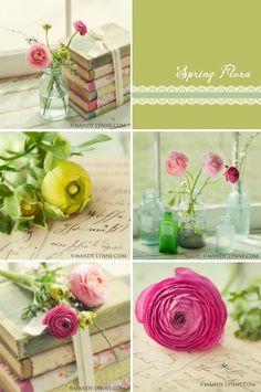 Spring flora- (set of five 5x5 prints). $45.00, via Etsy.