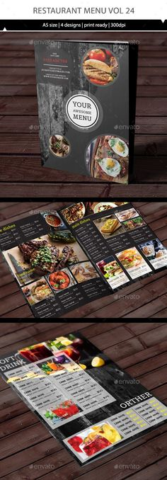 Restaurant Menu Vol 24 by TuanCFS Restaurant A5 design.- 4 page for menu template (A5 size) - The design all have 3mm bleed, so it ready to print. - Adobe Illustrat