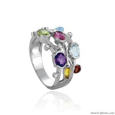 diamond ring with amethyst, aquamarine, garnet, topaz   | Amethyst, Peridot, Blue Topaz, Garnet, Pink Topaz And Diamond Ring ...