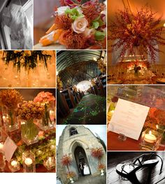 island chic garden themed wedding: orange, red & accents of green, floating votive chandelier