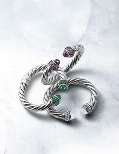 Osetra bracelets with gemstones.