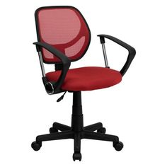 Flash Furniture Mid-Back Black Mesh Task Chair and Computer Chair with Arms Mesh Chair, Mesh Office Chair, Home Office Chairs, Diy Chair, Office Desk, Red Office, Chair Height, Stylish Chairs, Cafe Chairs