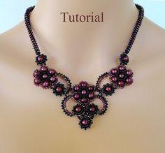 PDF for beadwoven necklace beading pattern - beadweaving beading tutorial beaded seed bead jewelry - FRENCH KISS via Etsy by rachel.zettergren