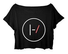Women's Crop Top Twenty One Pilots T-shirt Minimalist Logo Twenty One Pilots Shirt (Black)