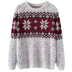 Chicnova Fashion Christmas Snowflake Brocade Round Neck Knitwear ($19) ❤ liked on Polyvore featuring tops, sweaters, shirts, jumpers, christmas tops, christmas sweater, round neck top, snowflake sweater and christmas shirts