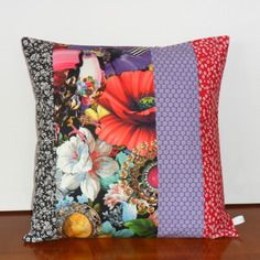 housse de coussin en lin des roses en patchwork boh me. Black Bedroom Furniture Sets. Home Design Ideas