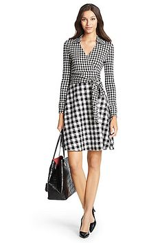 DVF Amelianna Flared Silk Combo Wrap Dress in in Gingham Small/ Gingham Black